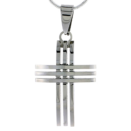 Stainless Steel 3-Bar Cross Pendant Necklace