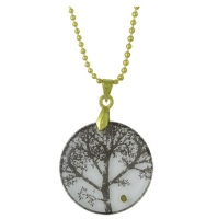 Circle Mustard Seed Tree Necklace  Pendant