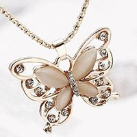 Butterfly Pendant Rhinestones Rose Gold