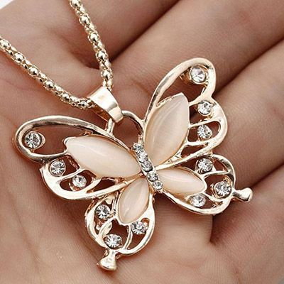 Rose Gold Butterfly Necklace Opal Stones