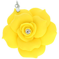 Yellow Rose Flower Polymer Clay Pendant