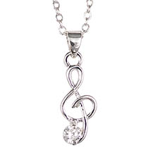 Silver Music Necklace With Clear Zirconia