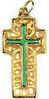 Cross on Cross Pendant Necklace Gold