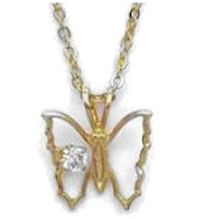 Gold Open Butterfly Pendant