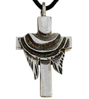 Shroud on Cross  Necklace Pewter