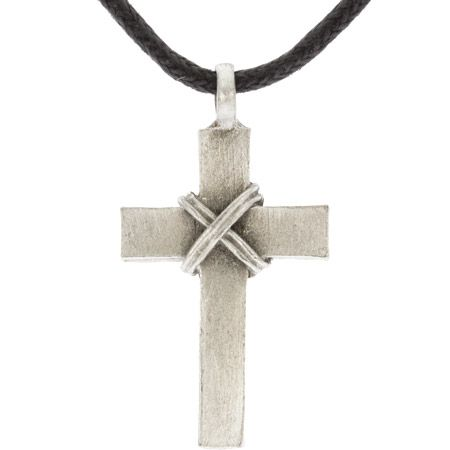 Pewter Rope Wrapped Cross Necklace