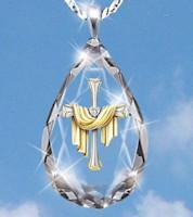 Crystal Teardrop Shroud Cross Necklace
