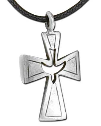 Confirmation Cross Spirit Dove Pewter Necklace