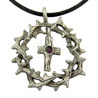 Crown of Thorns Cross Necklace Pewter