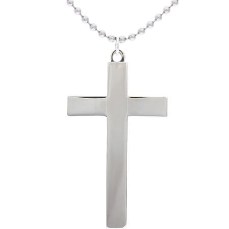 Large Cross Necklace Silver On Beaded Chain