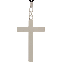 Silver Cross On Black Cord Necklace