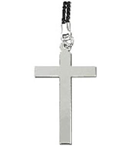 Large Cross Silver Necklace 2.25 Inch