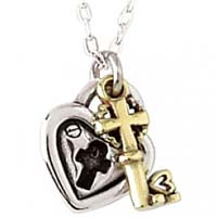 Sterling Silver Heart Necklace - Lock & Key With Cross
