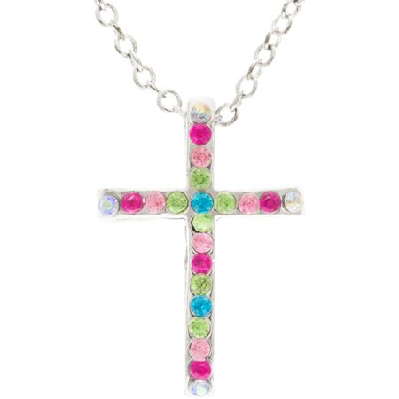 Silver Cross Rhinestone Necklace