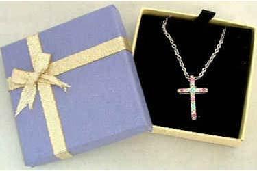 Gold Cross Rhinestone Necklace
