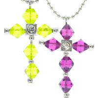 Faith Crystal Cross Necklace, Plum or Green