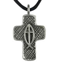 Cross with Jesus Fish Necklace Pewter