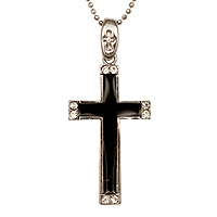 Christian necklace Black & Silver Cross