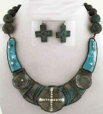 Cross Rhinestone Acylic Necklace, Earring Set