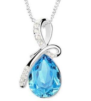 Angel Tear Crystal Silver Pendant Blue