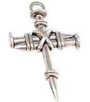 Antique Silver Rope Tied Nail Cross Necklace