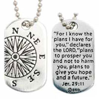Christian Necklace - Compass, Jeremiah 29:11 Tag