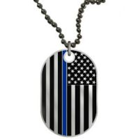 Thin Blue Line Dog Tag Necklace