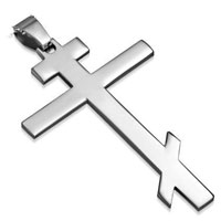 Stainless Steel Orthodox Cross Pendant Necklace