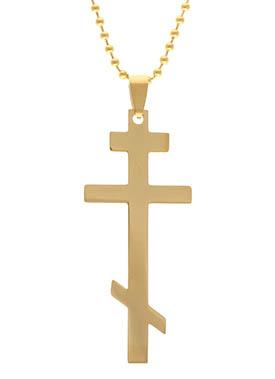 Gold stainless steel orthodox cross pendant necklace gold stainless steel orthodox cross necklace aloadofball Gallery