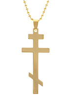 Gold Stainless Steel Orthodox Cross Necklace