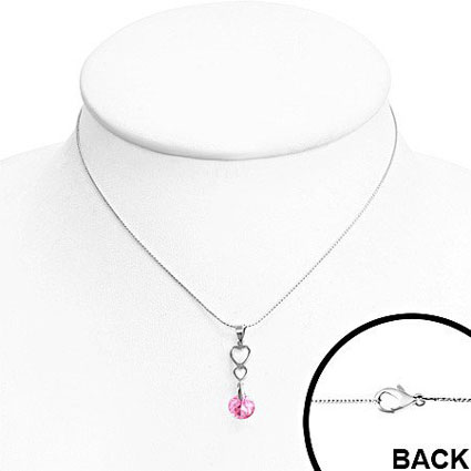 Open Love Heart Journey Charm Necklace with Rose Pink CZ