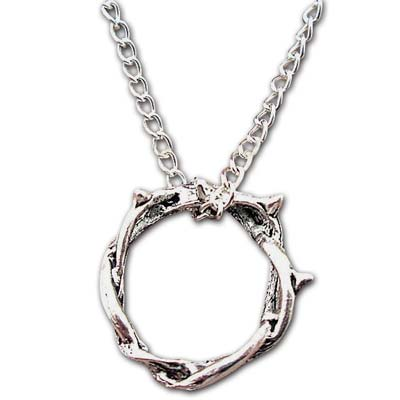 Silver Crown of Thorns Necklace
