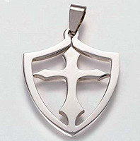 Faith Cross Shield Necklace Stainless Steel