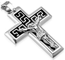 Greek Crucifix Necklace Stainless Steel
