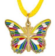 Gold Butterfly With Cross Necklace Multicolored