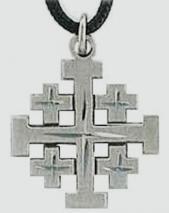 Jerusalem Cross Necklace Pewter