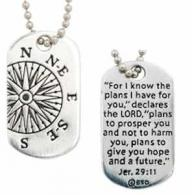 Christian Necklace - Compass, Jeremiah 2911 Tag