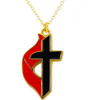 United Methodist Church Cross & Flame Necklace