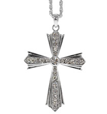 Rhinestone Flared Cross Necklace Silver
