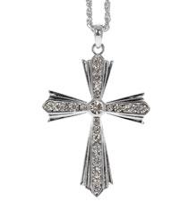 Rhinestone Flared Cross Necklace Silver