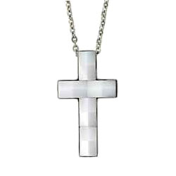 Ceramic, Stainless Steel Cross Necklace