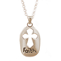 Faith Pewter Silver Cross Necklace