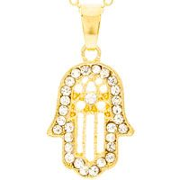 Hamsa Rhinestone Gold Necklace