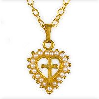 Cross in Heart Gold Necklace With Pearls