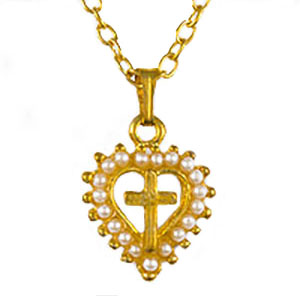 Cross in Heart Necklace With Pearls Gold