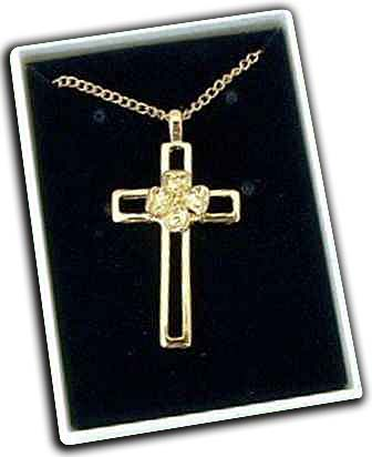 Gold Cross and Dogwood Flower Necklace