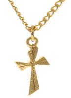 Twisted Cross Necklace Gold