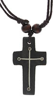 Wood Cross Necklace Brown