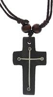 Dark Brown Wood Cross Necklace