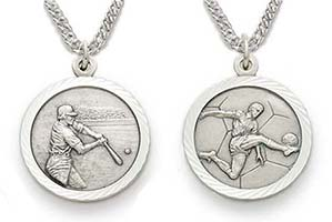 Sterling Silver Men's Catholic Sports Necklaces, 12 Sports